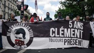 """Manifestation à Paris pour réclamer la """"vérité"""" sur la mort de Clément Méric, tué le 5 juin 2013 à Paris."""
