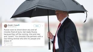 Donald Trump menace d'envoyer de façon imminente des missiles sur la Syrie et s'en prend à la Russie.