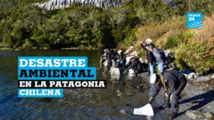 La Armada chilena trabaja para contener un derrame de 40.000 litros de combustible diesel en la isla Guarello en la Patagonia. Chile, el 29 de julio de 2019.