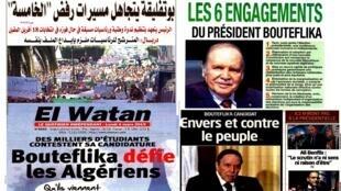 صحف جزائرية تناولت ترشح بوتفليقة لولاية رئاسية خامسة. 4 مارس/آذار 2019.
