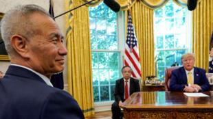 Le vice-Premier ministre chinois Liu He reçu à la Maison Blanche le 11 octobre.