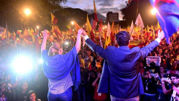 Carlos Alvarado, candidato presidencial del Partido Acción Ciudadana (PAC), cierra su campaña de cara a la segunda vuelta del domingo 1 de abril de 2018 donde compite con Fabricio Alvarado.