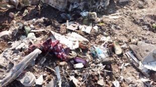 Restos del avión ucraniano siniestrado el miércoles 8 de enero cerca de Teherán, con 176 pasajeros a bordo.