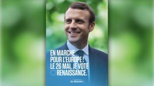 Le visage d'Emmanuel Macron sur l'affiche de campagne LREM aux européennes.