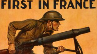 """Le détail d'une affiche américaine de la Première Guerre mondiale datant de 1917 et montrant un marine : """"Premier en France""""."""