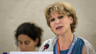 Agnes Callamard, relatora especial de la ONU sobre ejecuciones extrajudiciales, entrega su reporte sobre el asesinato del periodista saudita, Jamal Khashoggi ante el Consejo de Derechos Humanos de la Organización de Naciones Unidas, en Ginebra, Suiza, el 26 de junio de 2019.