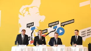 Copenhagen Mayor Frank Jensen (second left) took part in the unveiling of the Danish stages of the 2021 Tour de France in last February