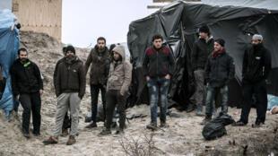 Des migrants dans la jungle de Calais, le 21 février 2016.
