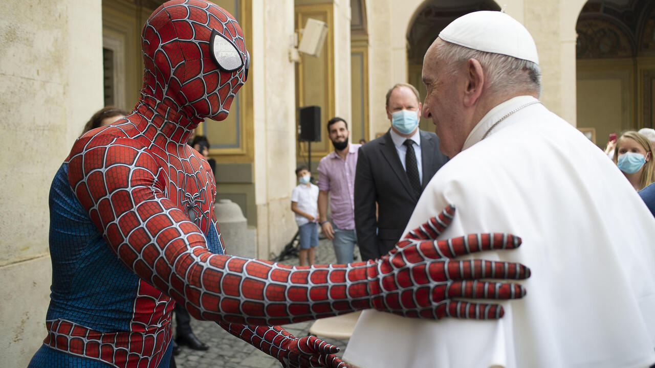 Pope Francis meets Spider-Man at weekly audience - France 24