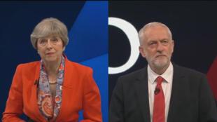 Theresa May et Jeremy Corbyn répondaient aux questions du public et du journaliste Jeremy Paxman, le 29 mai 2017.