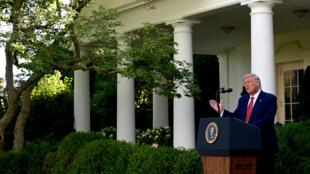 الرئيس الأميركي دونالد ترامب من حديقة البيت الأبيض في 14 تموز/يوليو 2020