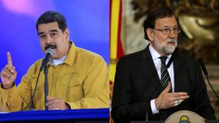 El presidente venezolano Nicolás Maduro y su homólogo español Mariano Rajoy en actos recientes.