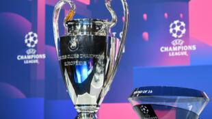 Photo fournie par l'UEFA du tirage au sort des huitièmes de finale de la Ligue des champions le 14 décembre 2020 au siège de l'institution à Nyon, en Suisse