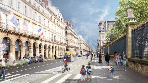 Plans for rue de Rivoli alongside Tuileries Gardens