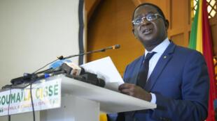 Soumaïla Cissé lors de sa conférence de presse le 17 août à Bamako.