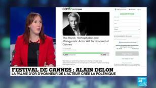 Marion Duquesne, porte-parole de l'association féministe Les Effrontées, réagit sur France 24 à la remise d'une Palme d'or d'honneur à Alain Delon, le 19 mai 2019.