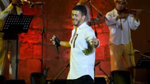Le chanteur marocain Saad Lamjarred lors d'un concert le 30 juillet à Carthage.