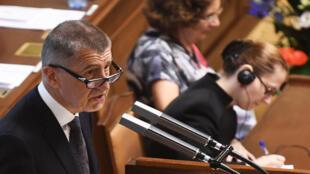 Le Premier ministre tchèque Andrej Babis s'exprime face au Parlement, mercredi 11 juillet 2018.
