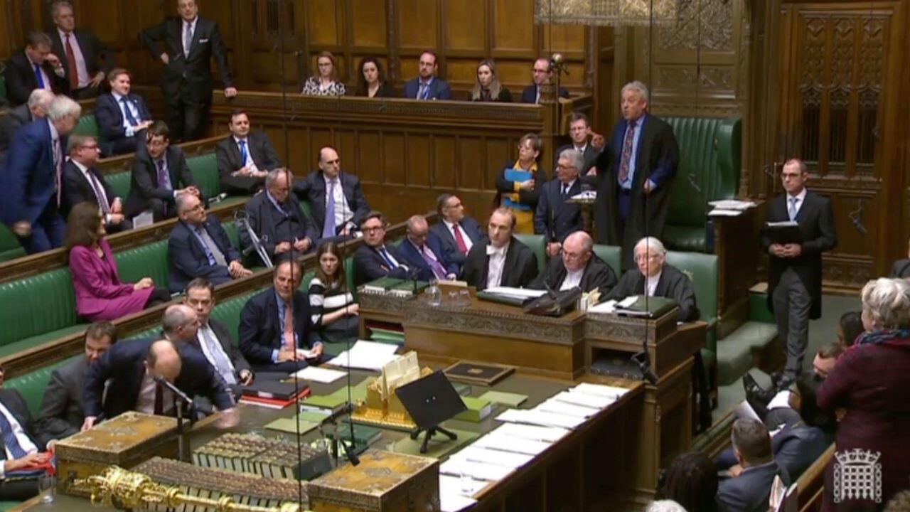 El presidente de la Cámara de Representantes, John Bercow, habla en el Parlamento, en Londres. 18 demarzo de 2019