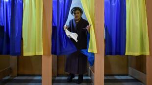 مكتب انتخابي في العاصمة الأوكرانية كييف. 31 مارس/آذار 2019.