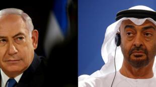 صورة مركبة لرئيس الوزراء الإسرائيلي بنيامين نتانياهو في 28 ايار/مايو 2017 وولي عهد أبوظبي الشيخ محمد بن زايد آل نهيان في 12 حزيران/يونيو 2019