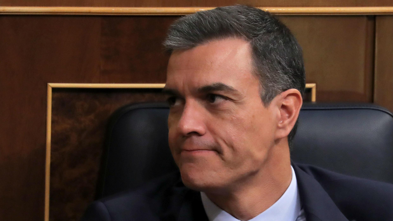 Pedro Sánchez, reacciona en el Parlamento en Madrid, España, el 23 de julio de 2019.