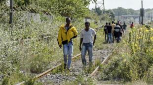 Migrants à Calais, 5 août 2014.