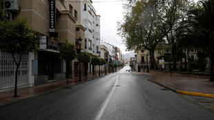 File photo of an empty street during a lockdown in downtown Ronda, southern Spain, March 22, 2020.
