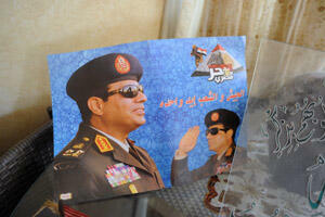 A poster dedicated to al-Sisi displayed in an Egyptian woman's home (Photo: Mehdi Chebil/FRANCE 24)