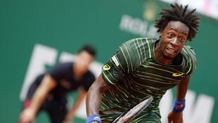 France's Gaël Monfils  runs after the ball during the Monte-Carlo ATP Masters Series Tournament tennis match against Czech Republic'sTomas Berdych, on April 18, 2015