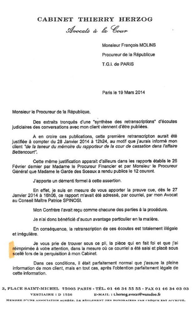 La lettre de Thierry Herzog datée du 19 mars.