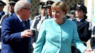 Le président tunisien Béji Caïd Essebsi et la chancelière allemande Angela Merkel à son arrivée à Carthage, le vendredi 3 mars 2017.
