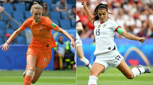 L'attaquante néerlandaise Vivianne Miedema et son homologue américaine Alex Morgan.