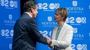 Le gouverneur de New York Andrew Cuomo a débattu avec Cynthia Nixon le 29 août 2018.