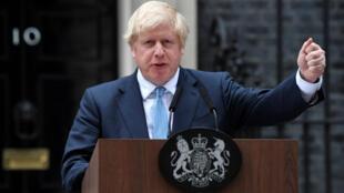 Le Premier ministre britannique, Boris Johnson prononce un discours devant le 10 Downing Street, à Londres, le 2 septembre 2019.