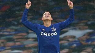 Le milieu colombien d'Everton, James Rodriguez, auteur d'un doublé lors du match de Premier League face à Brighton, à Liverpool, le 3 octobre 2020