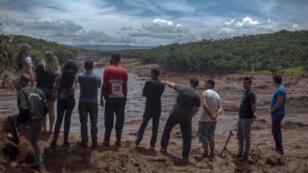 Sur les lieux de la catastrophe de Brumadinho, dans l'État de Minas Gerias, le 27 janvier 2019.