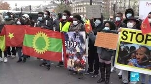 A protest in central Paris against Ethiopia's military operation in the Tigray region.