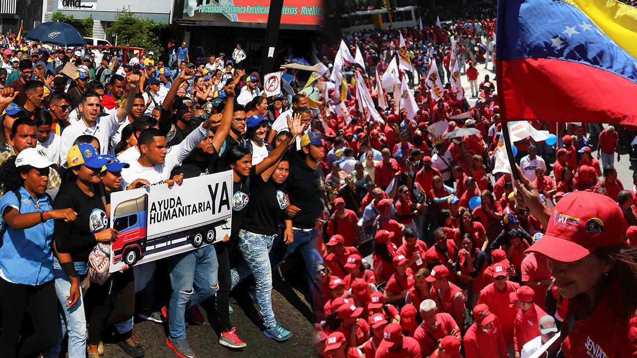 Este martes 12 de febrero hubo multitudinarias marchas en Venezuela a favor y en contra del presidente Nicolás Maduro.