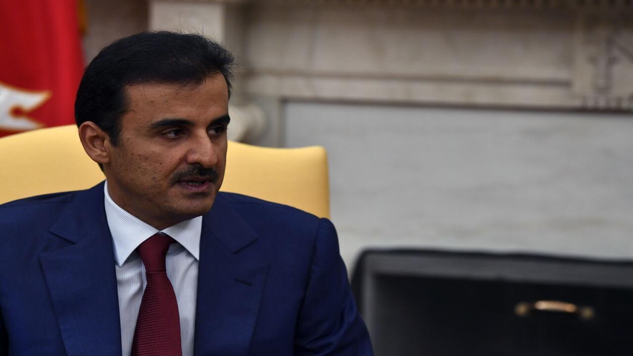 أمير قطر الشيخ تميم بن حمد آل ثاني أثناء زيارته لواشنطن - 9 يوليو/تموز 2019.