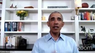 Former US President Barack Obama speaks during a webcast with activists on June 3, 2020.