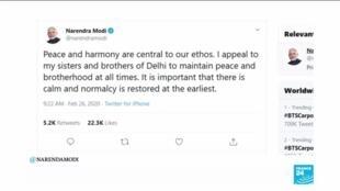 2020-02-26 13:34 India protests: PM Narendra Modi appeals for calm