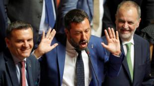 El viceprimer ministro italiano y líder del partido la Liga, Matteo Salvini, en una sesión del Senado en la que los diputados deciden la fecha para una moción de censura al primer ministro, Giuseppe Conte. Roma, Italia, 13 de agosto de 2019.