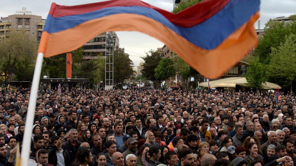 La ville d'Erevan est secouée depuis cinq jours par un mouvement de protestation, le 13 avril 2018.