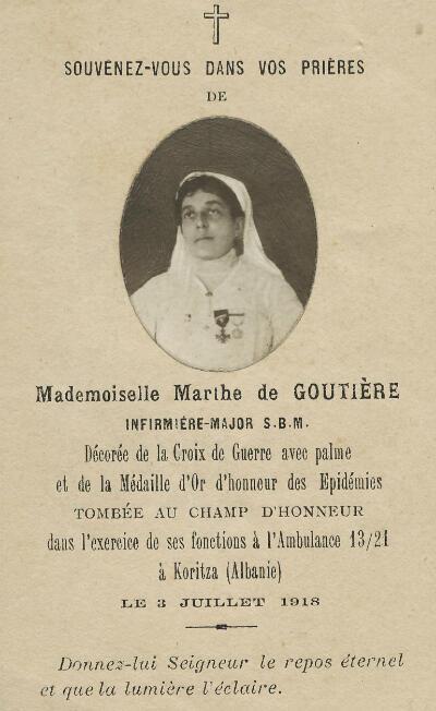L'avis de décès de Marthe de Goutière.