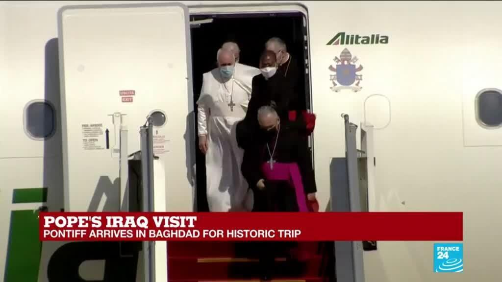 2021-03-05 12:01 Pope Francis lands in Baghdad on first-ever papal visit