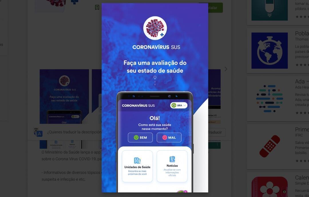 La aplicación brasileña Coronavirus SUS.