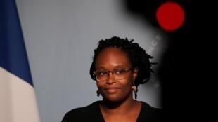 Sibeth Ndiaye lors d'un point presse à l'Élysée, à Paris, le 3 juin 2020.