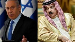 صورة مركبة لرئيس الوزراء الاسرائيلي بنيامين نتانياهو في حزيران/يونيو 2020 وملك البحرين حمد بن عيسى آل خليفة في كانون الأول/ديسمبر 2019