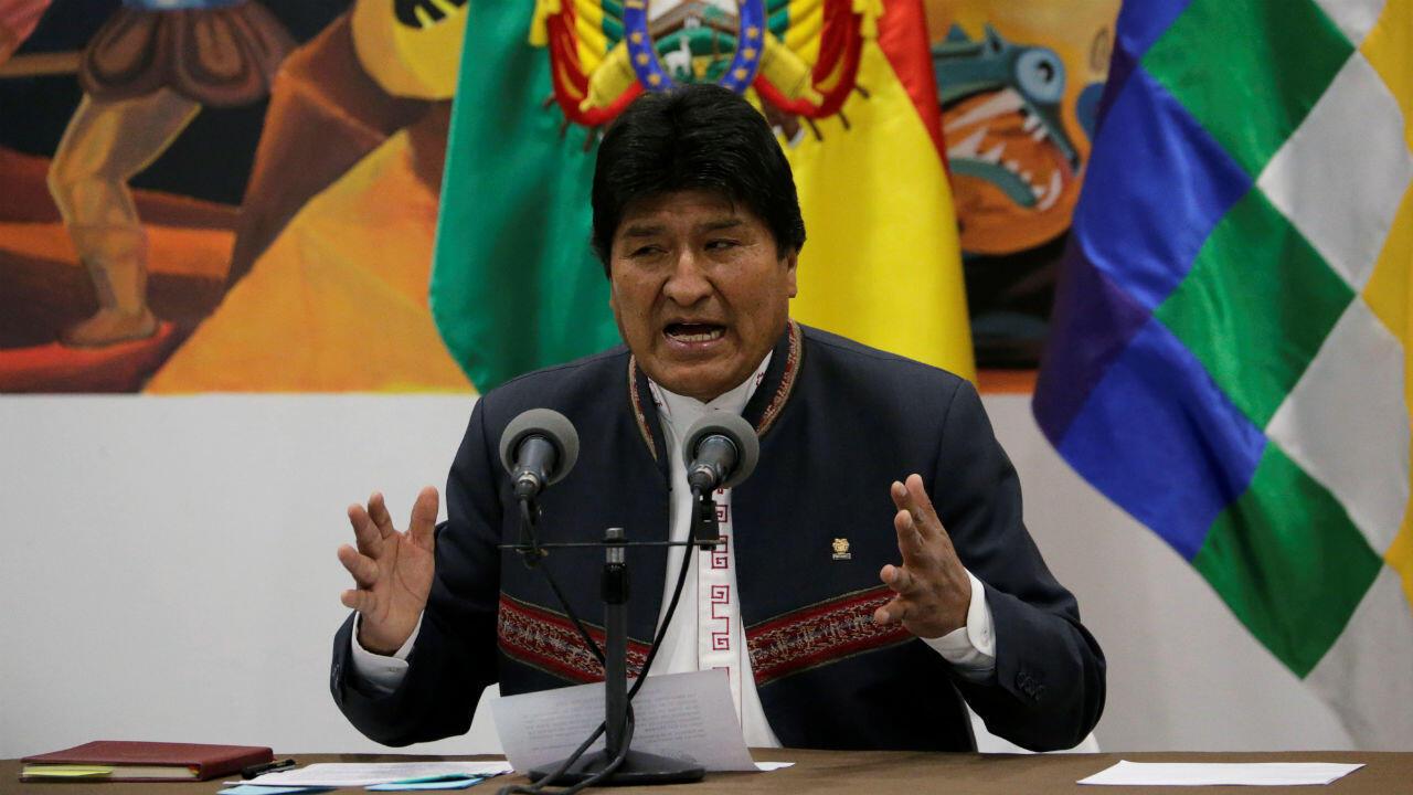 Evo Morales lors de son allocution, jeudi 24 octobre 2019.